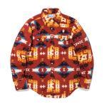 ウエスタンシャツ フリース アメリカンネイティブ柄 メンズ ネルシャツ 長袖シャツ アメカジ 赤 S M L