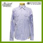 ウエスタンシャツ ストライプ柄 カスタムフィット メンズ 長袖シャツ カウボーイシャツ 縦縞模様 しましま 青