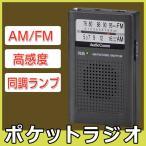 ショッピングラジオ ラジオ AM/FMポケットラジオ 高感度 電池式 小型 コンパクトラジオ ワイドFM 片耳イヤホン付 オーム電機 P115N