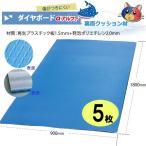 ワニ印・ダイヤボードαアルファクッション付き無発泡養生プラスチックベニヤ板・青<1.5mm厚>900×1800mm 5枚