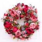 クリスマスリースクリスマス花輪ドアリースドア店舗玄関庭園部屋壁飾りガーランドバラ人工造花飾りデラックスリース北欧風ピンク40cm
