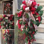 クリスマスリースクリスマススワッグ大きいオーナメントナチュラルリースドア玄関庭園部屋壁飾りガーランド松かさ華やかおしゃれ新年飾り60cm