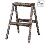 ステップスツール 2段 脚立 花台 ラック 腰掛け おしゃれ インテリア かわいい DIY 折りたたみ 軽い 頑丈 踏み台 タラップ はしご 迷彩柄