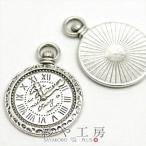 ヨーロピアンアンティーク時計チャーム 2個 約3x2cm シルバー アンティークチャーム 1つ穴 チャーム パーツ 雑貨 材料 素材 手芸