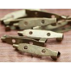 ブローチピン(約3cm)10個セット 金古美 2つ穴 ブローチ金具 造花ピン コサージュピン アクセサリーパーツ 手芸材料 基礎金具 素材