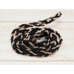 三つ編み チェーン&スエード調紐(幅約7mm)約100cm ブラック×ゴールド アクセサリーコード ひも 編み紐 合皮スエード 手芸 クラフト