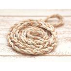 五つ編み チェーン&スエード調紐(幅約9mm)約100cm ホワイト×ゴールド アクセサリーコード ひも 編み紐 合皮スエード 手芸 クラフト