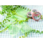 ジュエリー袋 水玉模様(約10x7.5cm)約50枚/グリーン オーガンジー/ジュエリーケース/ポーチ/巾着袋/アクセサリー入れ/包装用品/手芸