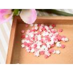 レジン パーツ 封入 素材 ポリマークレイ チップ 桜 約5x5mm 赤ピンク白 約3g 埋め込み ネイル サクラ アクセサリーパーツ デコ