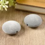 フロッキービーズ 楕円形 グレー 灰色 約24mm 約2.4cm 2個 通し穴 フロッキー ビーズ ベロア ベルベット フラット 円形 立体 パーツ