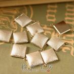 スクエアチャーム コネクター  四角  1.5cm×1.9cm 金 10ヶ 合皮素材 2カン 単価75円 通し穴付 金属チャーム カラフルチャーム 合皮チャーム 材料 卸