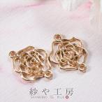 つなぎパーツ バラ ゴールド 17mm 2個 2ヶ チャーム 植物 コネクター コネクターパーツ パーツ 薔薇 ローズ 透かし 約1.7cm
