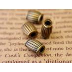 ループエンド4個 楕円型ストライプ 金古美 アンティークゴールド 約12.5mm×9.7mm×7.5mm 紐止め 紐留め エンドパーツ 手芸用品