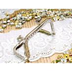 がま口金具 角型 8.5cm お財布サイズ がま口 ハートひねり 片カン付き 手作り 財布 縫いつけタイプ 穴付き ハンドメイド シルバー 銀