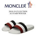 8 MONCLER モンクレール 18aw BASILE ホワイト×トリコロールライン サンダル/シャワーサンダル 1013800 07857