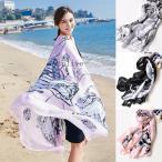 ストール 春 UVカット スカーフ 大判 プリント 日よけ UVカット 紫外線対策