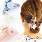 ヘアクリップ/涼しげ透明 ビーズフラワー 長めバンスクリップk133☆白/ピンク/水色 花 ラインストーン ヘアアクセサリー ワニクリップ 髪飾り ヘアアレンジ