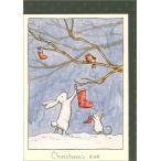 グリーティングカード クリスマスカード「クリスマスイブ」 メッセージカード 封筒付き/緑柄 ウサギ ねずみ