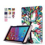 ショッピング docomo dtab Compact d-02h / Huawei MediaPad M2 8専用保護ケース 彩色上絵 オートスリップ 高級PUレザーケース(ツリー)