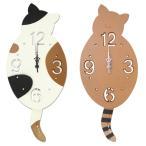 猫のシルエットがかわいい掛け時計 振り子タイプ 79