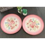 お皿 ローズ プレート 2枚セット 薔薇雑貨 バラ 食器 皿 キッチン雑貨 陶器 ピンク 姫系 rose 花柄 フラワー ケーキ皿 デザート皿 ギフト プレゼント 送料無料