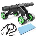 腹筋ローラー アブホイール エクササイズウィル スリムトレーナー エクササイズローラーブレーキ 膝を保護するマット付き …