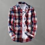 カジュアルシャツ メンズ 長袖 チェック柄 カラー配色 スリム 新作 シャツ カジュアル トップス