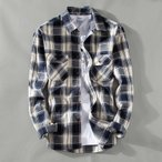 カジュアルシャツ メンズ 長袖 チェック柄 ワークシャツ スリム アメカジ 新作 両ポケット付き シャツ カラー配色