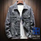 デニムジャケット メンズ 個性 オシャレ ダメージ ヴィンテージ加工 Gジャン ウォッシュ加工 刺繍