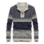 ショッピングセーター セーター メンズ ニット ハーフジップ スタンドカラー 保温