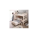頑丈設計のロータイプ天然木ホワイト木目多段ベッド Whitriple ホワイトリプル 3段ベッド シングル