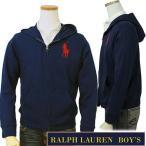 ポロラルフローレン(POLO by Ralph Lauren)ビッグポニー 刺繍 フルジップパーカー メンズ レディース 兼用  無地 綿100% 裏毛 ボーイズサイズ