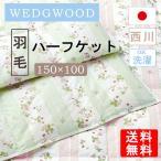 羽毛ハーフケット 150×100 ウェッジウッド ワイルドストロベリー柄 ハーフケット 羽毛 洗える 薄手 綿100% 東京西川 日本製 WEDGWOOD WW7620