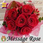 花びらにMerry X'mas 大輪赤バラの花束でサプライズ