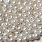淡水ベビーパール パーツ 素材 ビーズ 真珠 ホワイト系 ポテト 極小 10粒 3mm*3.5~4mm