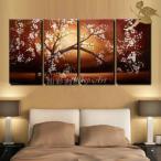 アートパネル インテリア 和 モダン 日本画 絵画 壁掛け 風景 花 手書きの油彩画 4枚セット 桜ブラウン系
