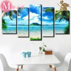 絵画 壁掛け 風景 海 モダン アートパネル インテリア 手書きの油彩画 5枚セット 晴天のプライベートビーチ