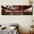 絵画 壁掛け 風景  花 モダン アートパネル インテリア 和 日本画 手書きの油彩画 3枚セット  枝に咲く赤い花