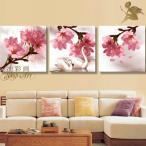 絵画 壁掛け 風景 花 モダン アートパネル インテリア 和 日本画 手書きの油彩画 3枚セット 桜と白鳥