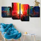 絵画 壁掛け 抽象画 モダン アートパネル インテリア おしゃれ 手書きの油彩画 4枚セット 赤と青のグラデーション