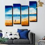 アートパネル 海 インテリア モダン 絵画 壁掛け おしゃれ 手書きの油彩画 4枚セット 青空の浜辺と2組のカップル