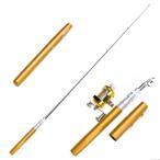 [YS]ペン型携帯釣竿 コンパクトロッド&リール ゴールド[メール便発送、送料無料、代引不可]