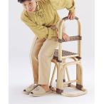 籐 ステッキチェアー Y31 Y31 ステッキ機能付き籐椅子 軽量らくらく移動 いす 一人掛け 1p籐製座椅子籐家具北欧ラタンチェアシルバー用品杖機能付きイス