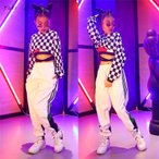 キッズ ダンス衣装 ヒップホップ 3点セット セットアップ HIPHOP 格子 長袖ダンスシャツ パンツ 子供 女の子 練習着 ジャズダンス