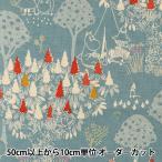 【数量5から】生地 『カワトウリカ×ムーミン 綿麻キャンバス 森のいきもの サックス G-1201-1A』 KOKKA コッカ