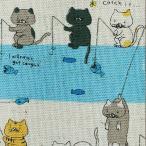Yahoo!ユザワヤ【生地セール】 生地 『コットンこばやし綿麻キャンパス 釣りねこ 50cm カットクロスC-KTS6276-B』