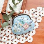 Piece(ピース) 『Rairaiさんのノスタルジックフラワー刺しゅうキット』 がま口 Shadow blue garden