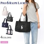 ラルフローレン トートバッグ レディース ミディアム 鞄 キャンバス ビッグポニー 刺繍 ブランド 黒 白 ジッパー ポケット カジュアル