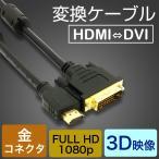 HDMIケーブル HDMI-DVI変換ケーブル 1.5M 変換アダプタ  24金メッキ 金コネクタ FULL HD 1080p 3D映像 ハイビジョン イーサネット Ethernet オス-オス
