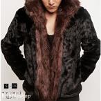毛皮コート ファーコート メンズ ショットコート ミンク フェイクファー フード付き おしゃれ 上着 暖かい 秋冬 防寒 高級素材 メンズファッション 送料無料